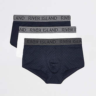 River Island Blue RI print 3 pack muscle hipsters
