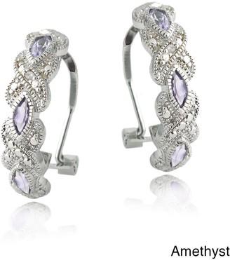 Glitzy Rocks Silvertone Gemstone and Diamond Accent Hoop Earrings
