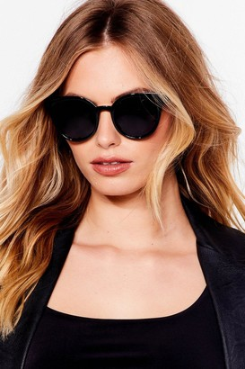 Nasty Gal Womens Like a Record Baby Round Tinted Sunglasses - Black - One Size