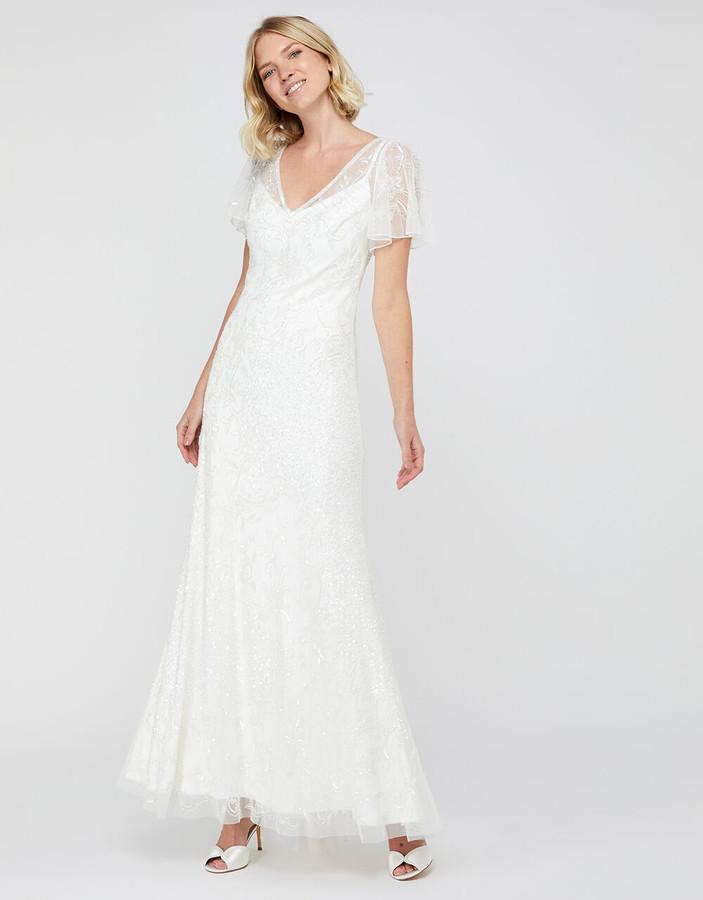 Monsoon Kitty Bridal Embellished Maxi Dress Ivory