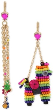 Betsey Johnson Gold-Tone Multicolor Pave Flower & Beaded Pinata Mismatch Drop Earrings