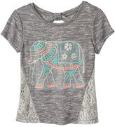 Miss Chievous Girls 7-16 Crochet Bow Back Graphic Tee