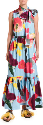 Marni Double J Lou Lou Floral Print Tiered Tie-Neck Dress