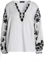Antik Batik Floral-Embroidered Gathered Cotton Blouse