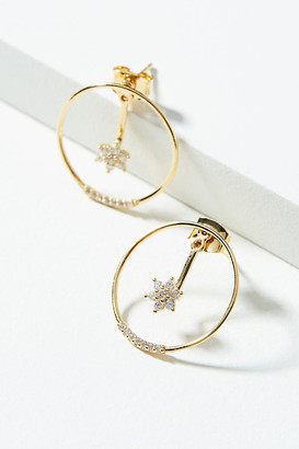 Anthropologie Celestial Front-Back Hoop Earrings By in Gold