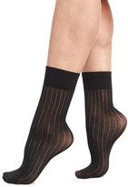 Wolford Romie Thin Pinstripe Socks, Black