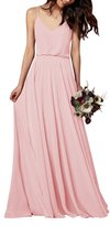Gardenwed Simple Spaghetti Straps Flowy Long Bridesmaid Dress Formal Dress