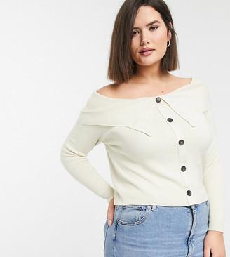 Asos DESIGN Curve off shoulder cardigan-Cream