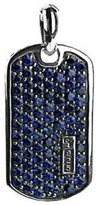 David Yurman STERLING SILVER PAVE SAPPHIRE SMALL 27 mm DOG TAG ENHANCER # 5T