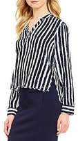 Armani Exchange Collared Long Sleeve Striped Blouse