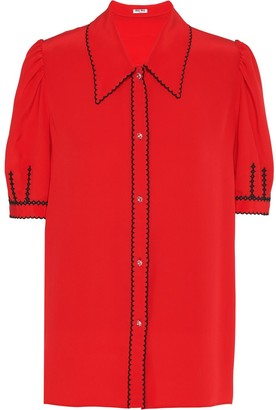 Miu Miu Embroidered Contrast Short-Sleeved Shirt