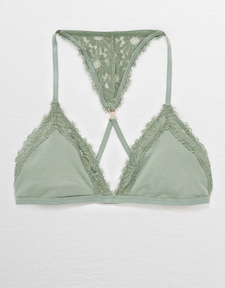 Aerie Happy Lace Ribbed Triangle Bralette