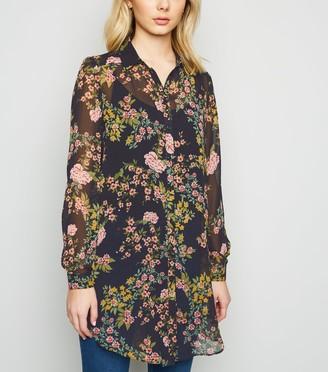 New Look Floral Chiffon Long Shirt