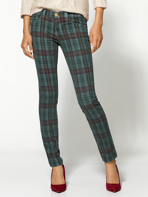 Current/Elliott Plaid Ankle Skinny Jeans