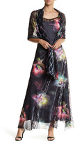 Komarov Floral Chiffon Maxi Dress & Wrap 2-Piece Set