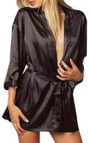 Rokou Women Sexy Satin Lingerie Kimono Robe Gown Sleepwear Nightgown with Belt