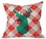 "DENY Designs Red Plaid Zoe Wodarz Oh Deer Me Throw Pillow (16""x16"