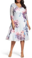 Komarov Plus Size Women's Floral Chiffon & Charmeuse A-Line Dress
