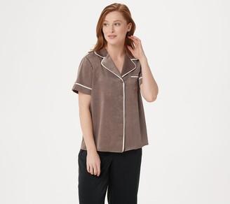 AnyBody Loungewear Piped Satin Pajama Top