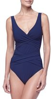 Karla Colletto Smart Suit Wrap-Front One-Piece Swimsuit