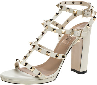 Valentino White Leather Rockstud Ankle Strappy Block Heel Sandals Size 38