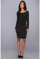 Three Dots L/S Stripe Raglan Dress w/ Shirring (Tonal Black) - Apparel