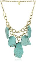 Yochi Turquoise Agate Stones on Strands of 14k Gold-Plated Chain Necklace