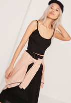 Missguided Strappy Rib Crop Top Black