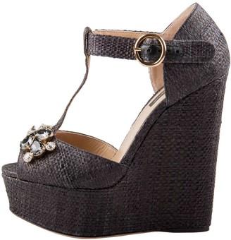 Dolce & Gabbana Black Crystal Embellished Raffia T Strap Wedge Peep Toe Sandals Size 36