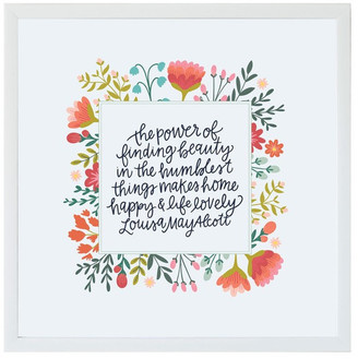 """Petal Lane """"The Power Of Finding Beauty"""" Magnet Board With White Frame, 16""""x16"""""""