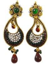 ibaexports Ethnic Jewelry Goldtone CZ Stones Earring Set Indian Bridesmaid Gift Jewelry