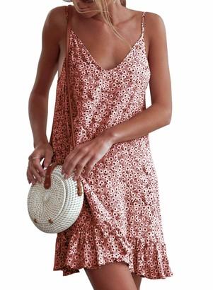 Yidarton Women Summer V Neck Sleeveless Mini Dresses Strap Boho Floral Backless Beach Holiday Party Sundress(S