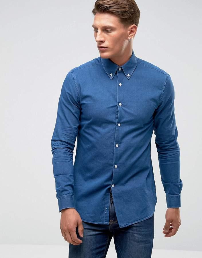 Reiss Slim Smart Shirt With Button Down Collar