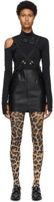 Junya Watanabe Black Faux-Leather Suspender Skirt