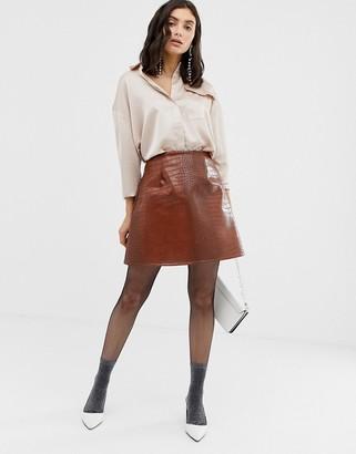 UNIQUE21 faux leather a line skirt-Tan
