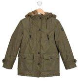 Bonpoint Boys' Rabbit-Lined Hooded Coat