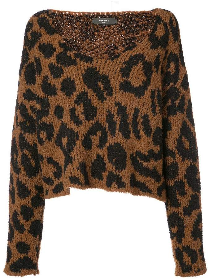 Amiri leopard knitted top