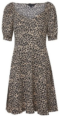 Dorothy Perkins Womens White Animal Print Sweetheart Crepe Dress, White