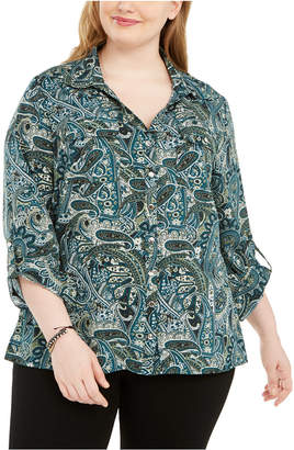 NY Collection Plus Size Polka Dot Button-Down Shirt