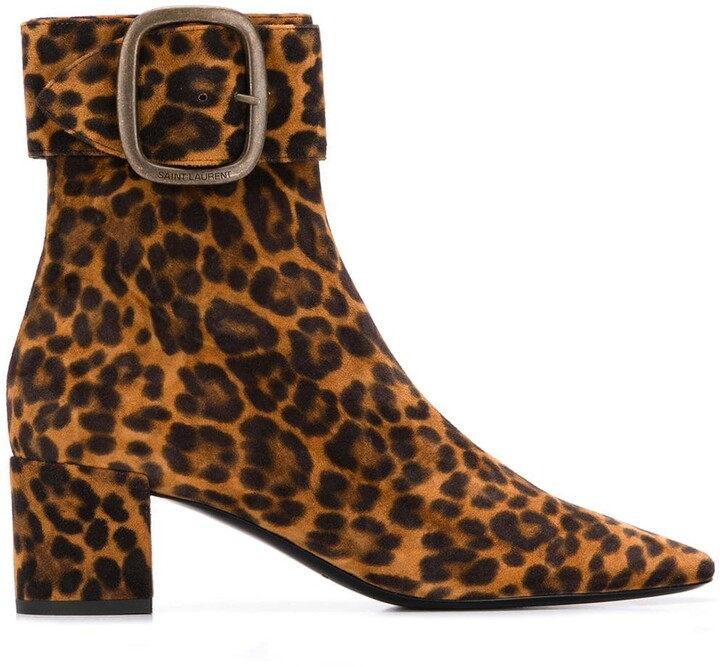 leopard low heel boots