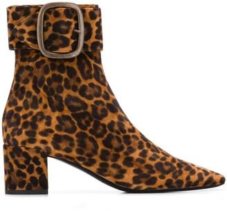 Saint Laurent Joplin leopard print ankle boots