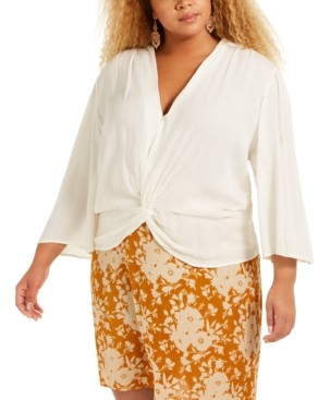 Band of Gypsies Trendy Plus Size Twist-Front Top