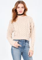 Bebe Cable Crewneck Sweater