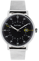 Paul Smith P10131 Men's Gauge Date Bracelet Strap Watch, Silver/Black