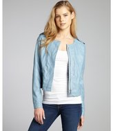 DKNY light blue faux leather cropped zip front jacket