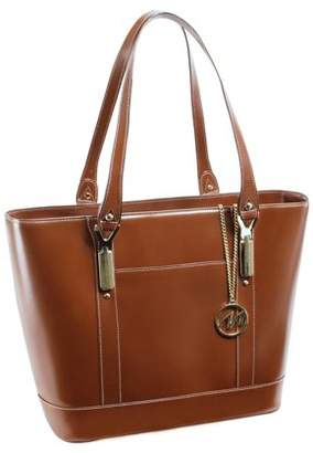 McKlein Usa ARYA, Ladies' Tote with Tablet Pocket, Top Grain Cowhide Leather, Brown (97714)