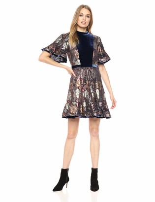 Rebecca Taylor Women's Short Sleeve Clip & Velvet Dress