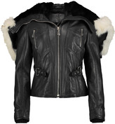 McQ by Alexander McQueen Angora and shearling-trimmed leather biker jacket