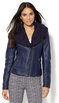 New York & Co. Textured Faux-Leather Moto Jacket - Removable Sweater Knit