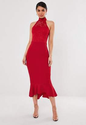 Missguided Red Lace Halterneck Fishtail Midi Dress